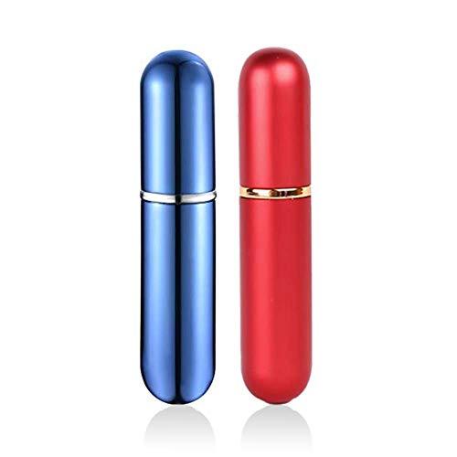 QJiang 5 ml Rojo Azul Aluminio y vidrio Aceite esencial vacío Inhalador nasal personal Remedio natural recargable con 4 mechas de algodón para alivio de senos nasales, alergias, dolores (juego de 2)