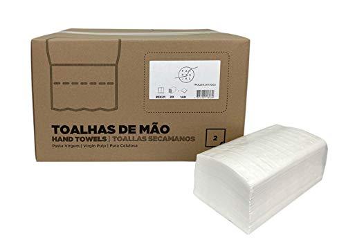 Fapajal Papercare Toalla Secamanos Zig-zag 23x21, Celulosa Virgen, 2 capas, 20 Paquetes de 140 Unidades