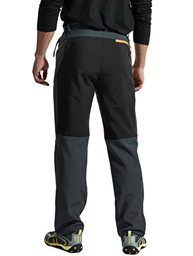 YSENTO Mens Outdoor Waterproof Hiking Pants Fleece Winter Warm Walking Climbing Mountain Ski Pants(01dark grey,M)