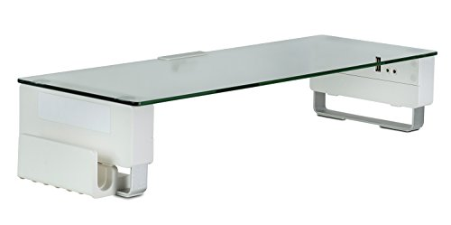 Price comparison product image Mount-It! Glass Monitor Stand Riser With 5 USB Ports / Ergonomic Desktop Shelf With Vertical Laptop Holder / Fits 24,  27,  30,  32 Inch Screes,  66 Lbs Capacity