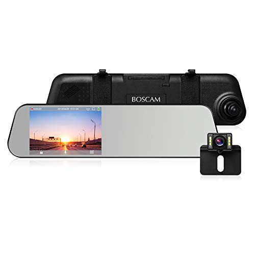 BOSCAM Touch Screen Backup Camera Mirror Dash Cam Waterproof Back up Car Camera and 4.5-inch Full HD 1080P Rear View Mirror Cam Video Recorder