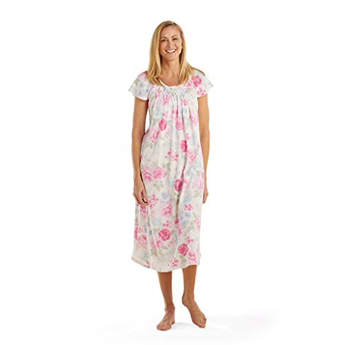 Miss Elaine Nightgown - Women s Midi-Length Chic Gown, Breathable Fabric, Short Sleeves and Hand Smocking (Medium, Pink Blue Floral)