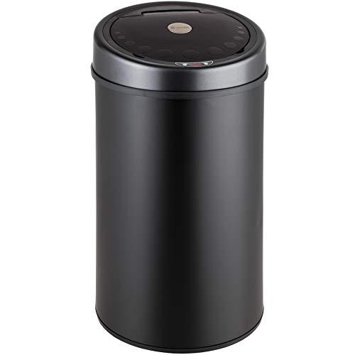 TecTake Poubelle Automatique en Acier Inoxydable - diverses tailles au choix - (Noir 50 Litres)