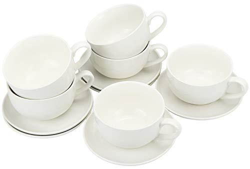 com-four® 12-teiliges Cappuccino-Set, Tasse mit Untertasse aus Keramik in weiß (12-teilig - Cappuccino-Set)