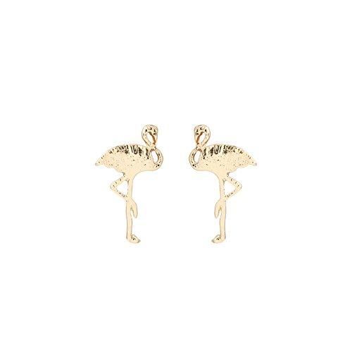 Momangel donne ragazze in lega a forma di fenicottero orecchini party Jewelry Gift, Lega, Golden, taglia unica