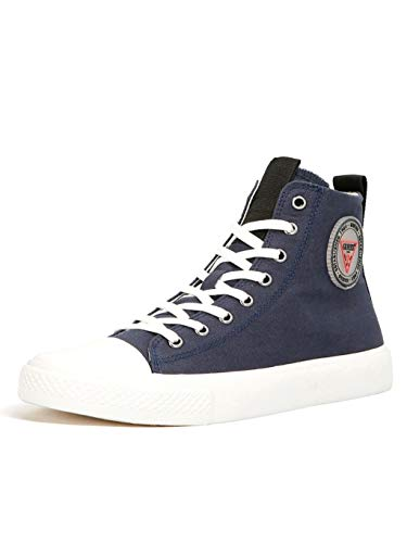Guess Zapatillas altas para mujer de tela de lona azul, cód. FL5ERHFAB12 Dblue