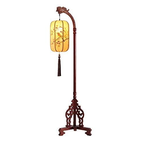 LOMJK Lámpara de pie, iluminación interior, lámpara de pie, clásica, de madera maciza, para salón, dormitorio, oficina, estudio, lámpara de lectura