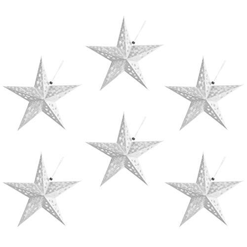 OSALADI 6St. 30cm Weihnachtsstern Papier Lampenschirm 3D Papierstern Laterne Star Lantern für Weihnachten Xmas Silvester Hochzeit Party Hängende Dekoration Ornament Fensterdeko Silber