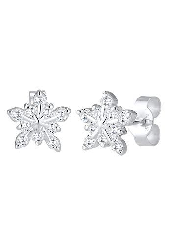 Elli Orecchini da donna a forma di fiocco di neve in argento 925 con zirconi bianchi taglio e Argento, colore: argento, cod. 0310662516