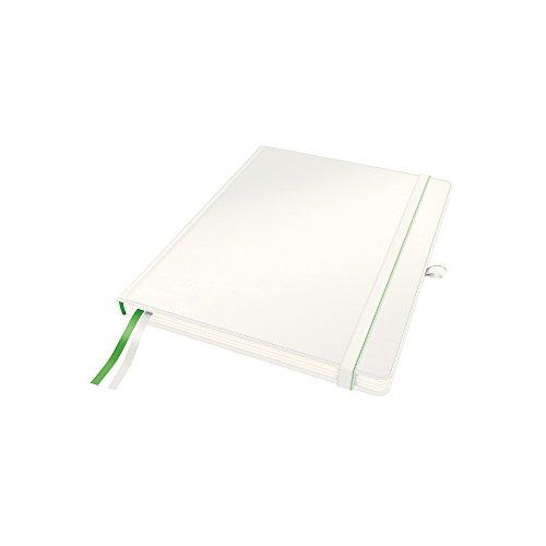 Leitz Hard Cover notitieboek, 80 vel, met 2 bladwijzers, 100 grams Ivoorpapier, volledig bereik Vierkant iPad Kleur: wit