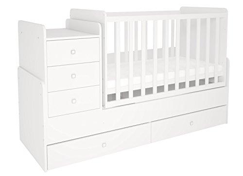 Polini Kids mitwachsendes Kombi-Kinderbett Simple 1100 mit Kommode weiß 1227.9
