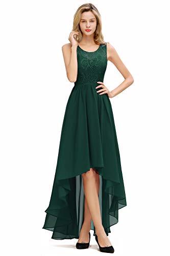 Babyonlinedress® Damen Prinzessin Chiffon Unberechenbar Brautjunfernkleid Spitze Ballkleid Abendkleid Abiballkleid Prom Dress Midi, Dunkel Grün, 46