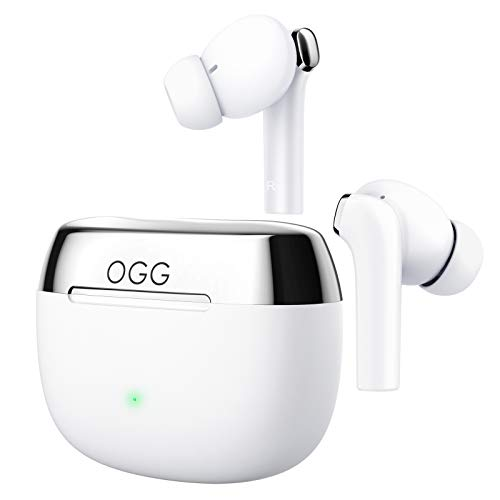 OGG K6 Wireless Earbuds ANC Bluetooth Earphones, Active Noise Cancelling Headset, Wireless Bluetooth Earbuds with Mart Touch,8 Hours Playback and 55 Extra Hours of Charging Case (White)
