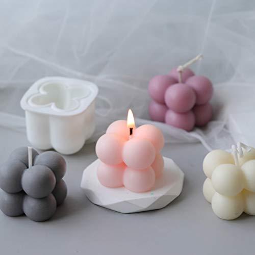TIANTIAN Lot de 3 moules en silicone pour bougies, plâtre, cire, bougies, mini cubes faits à la main
