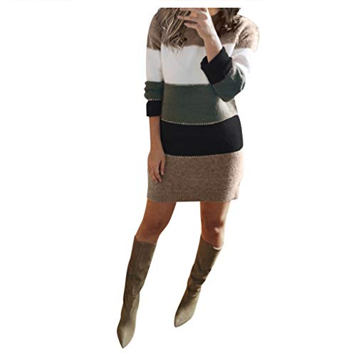 YANFANG Vestido Ajustado Mujer,Mini Vestido de Fiesta de Caderas de Paquete de Manga Larga de suéter de Punto de Mujer Sexy,, S,Green