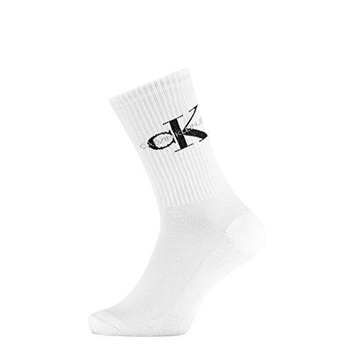 Calvin Klein Men Crew 1p CK Jeans Rib Desmond Calzini, Bianco, Taglia unica Uomo