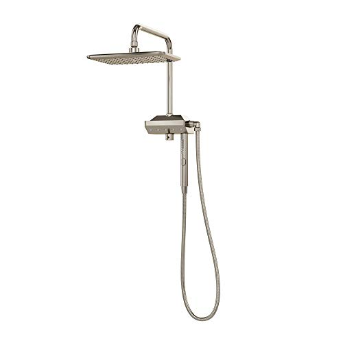 """PULSE ShowerSpas 1054-BN AquaPower Shower System with 11"""" Rain Showerhead, Air-Infused """"AquaPower"""" Sprays and Magnet Attached 3-Function Hand Shower, Brushed Nickel"""
