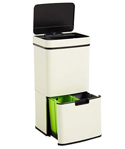 Homra Nexo Weiß - Mülltrennsysteme mit 3+1 Fächer - Mülleimer mit Sensor - 72 Liter (2x12 + 1x48 L) - Design Treteimer aus Edelstahl