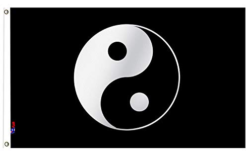 VAFLAG Yin Yang Flag 3x5 Ft Brilliant Colors Double Stitched with Brass Grommets,Indoor/Outdoor Deco Taoism Black Banner 36X60inch