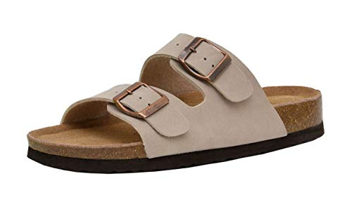 CUSHIONAIRE Women's Lane Cork Footbed Sandal with +Comfort, Stone, 7.5