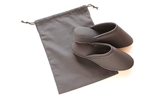 ツイル 前閉じ ヒールスリッパ【袋付き】 (M(〜23cm程度まで), ブラック)