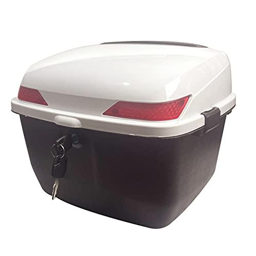 ASDQWER Universal Baúl De Moto Scooter,Baul Top Case para Moto,Equipaje Caja Fuerte De La Portadora De Almacenamiento De Bloqueo con El Respaldo Y El Sistema De Liberación Rápida,Blanco,L