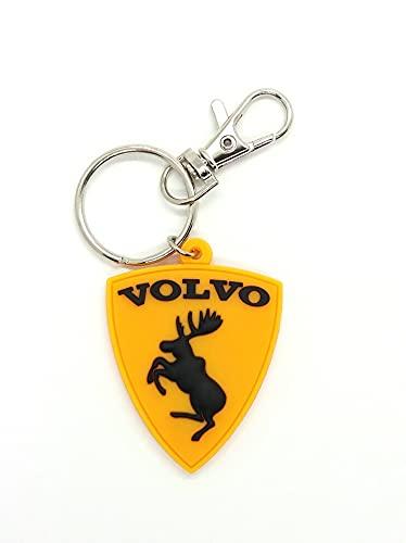 Freeco Porte-clés Volvo jaune en caoutchouc comme autocollant amusant avec élan