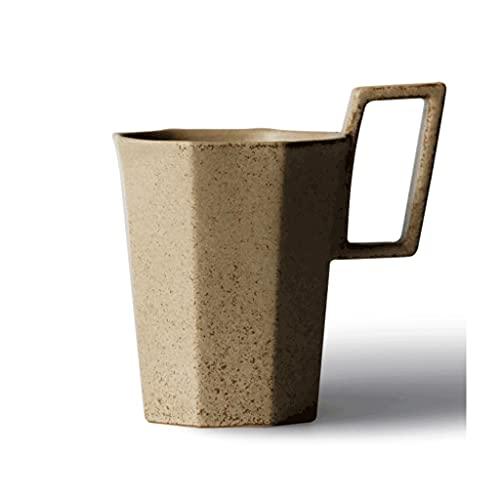ZANZAN Taza de cerámica Poligonal de cerámica con asa, Taza de café Multifuncional de 300 ml Creativa, Taza de café, Bebida Reutilizable, Taza-4 Colores (Color : Brown)
