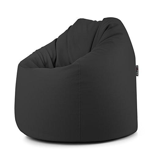 CAB Pouf Mou en Simili Cuir PVC déhoussable rempli de Billes de polystyrène Noir 78 x 78 x 93 cm