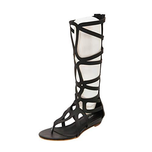 LvRao Damen Gladiator Sandalen Reißverschluss Schnürschuh Keilabsatz Römischen Stil Schuhe (Schwarz, EU 39)