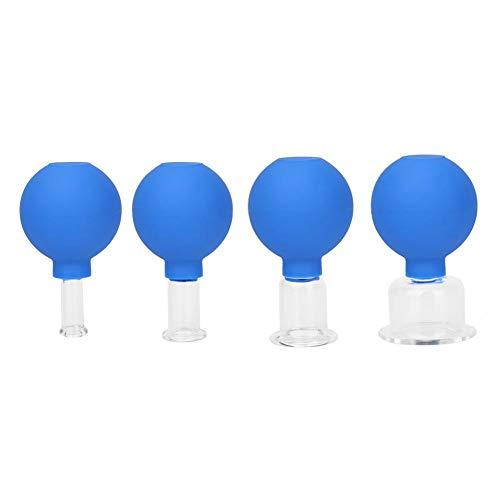 Terapia de silicona ahuecando el ventosas de vacío Copas anticelulitis masajeador de goma Cabeza de cristal ventosas cuerpo Médica Familiar Terapia HealthCare Azul