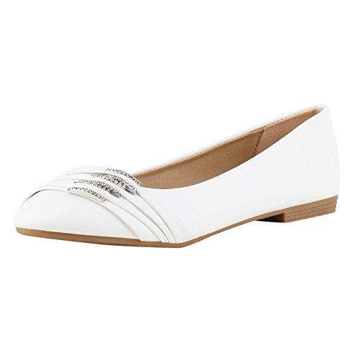 SCARPE VITA Klassische Damen Ballerinas Strass Flats Modische Schuhe 160372 Weiss Strass 36