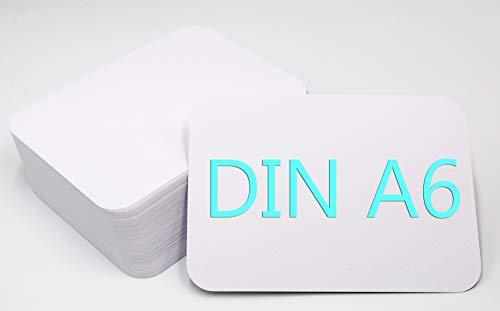 DIN A6 Postkarten Karteikarten Set Blanko zum Selbstgestalten Wahlweise mit Umschlägen und runden Ecken (weiss matt rund 350g/m², 50 Karten ohne Umschläge)