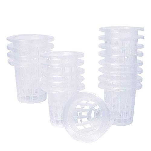 Paquete de 50 tazas de red de 3,34 pulgadas, malla ranurada, filtro de labios anchos, cesta de cubo de red para plantas, para orquídeas hidropónicas y acuaponicas