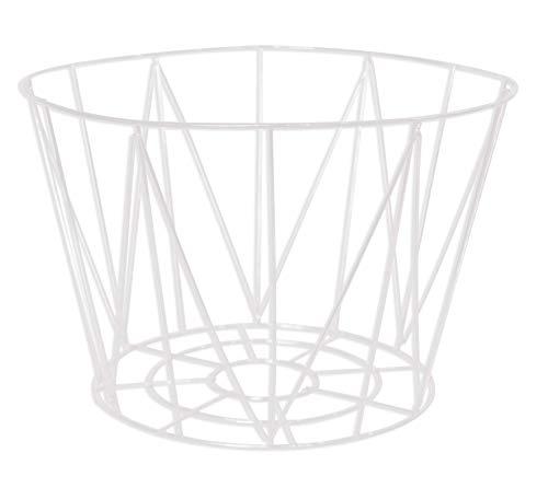 Cesta con cable de metal calado – Blanco – Base: 22 x 22 x 20 cm / Top: 30 x 30 x 20 cm
