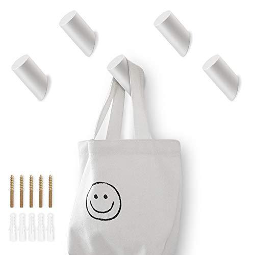 hicoosee Wandhaken Holz, Weiß Holz Kleiderhaken zum Aufhängen von Mänteln, Mützen, Schals, Kleidung, Handtasche im Schlafzimmer, Wohnzimmer, Flur 5 Stück