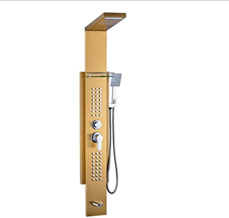 CCDYLQ Rainfall Wasserfall Dual Style Edelstahl-Massage Multi-Ferktion Bathroom Duschpaneel-Turm-System-ainless Steel Brushed Gold