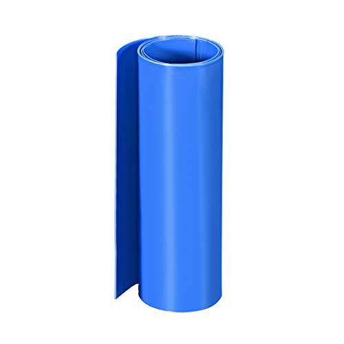 sourcing map PVC Schrumpfschlauch 200 mm Flache Wicklung für Doppelschicht 18650 1 Meter Blau