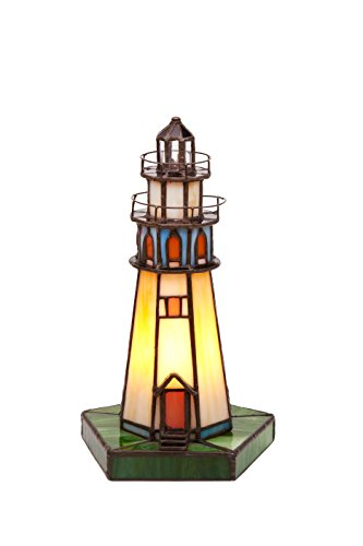 Viro Lámpara de Mesa Faro Tiffany E14, Multicolor, 15 x 27 cm