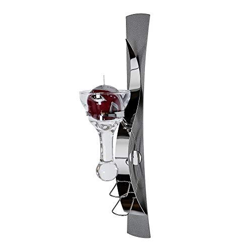 Wandleuchter mit Glaseinsatz, 1-flammig, 42 cm, silber