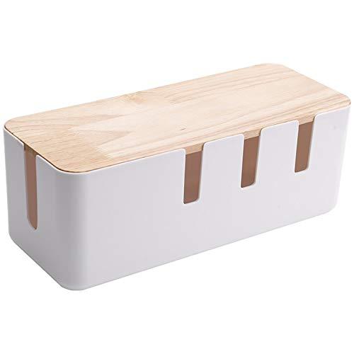 YICHOU Caja Blanca de Almacenamiento Caja de Almacenamiento Escritorio Tira de Enchufe de Alambre línea Cargador Toma de Enchufe Organizador de Acabado con Cubierta de Madera