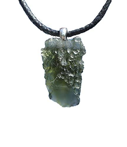 Collar de Moldavita 2021, joyería de Moldavita cruda, collar de Moldavita natural de Meteorito Alambre Wrap Verde Piedra Preciosa Real Moldavita Checa, Moldavita Joyería cruda
