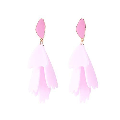 SUIWO Women Drop Dangle Earrings Hypoallergenic Dangling Earrings Jewelry Women's Colored Multi-layer Geometric Resin Earrings (Color : Pink)