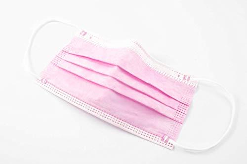 Mascarillas Higiénicas Desechables de Un Sólo Uso, No Uso Médico. 3 Capas,Rosa (50 unidades)
