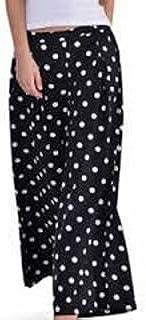 Raabta Fashion Designer Printed Palazzo Pants for Women and Girls Black