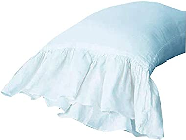 "Meaning4 2-Pack Bright White Pillow Cases Shams Covers with Long Ruffles Mermaid Fishtail Egypt Cotton Queen Size 20""X30""Soft Boudoir"
