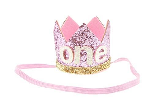 Schattige Baby Jongens Meisjes Glitter 1e Een Verjaardag Zilver Goud Elastische Kroon Eén maat Roze Wit One
