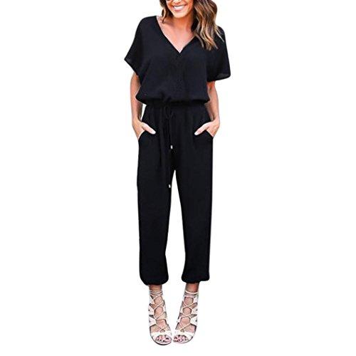 Internet Hot!!Damen Kleid Jumpsuit Chiffon Kurzarm Playsuit figurbetonten Overalls (L, schwarz)