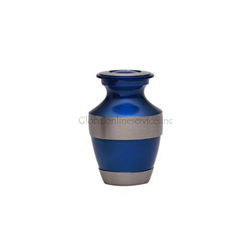 Whitby Urne souvenir en gris et bleu sarcelle, Laiton, gris, 3 Inches