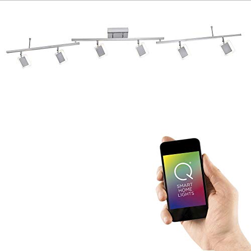 Paul Neuhaus, Q-Vidal, LED Deckenleuchte, 6-flammig, dimmbar mit Fernbedienung, Alexa-fähig, Smart Home, Deckenlampe, RGB-Farbwechsel, warmweiß, schwenkbar